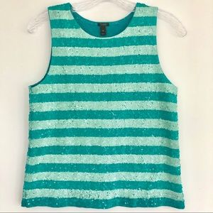 J.Crew Sequin Collection Teal/ Aqua Tank Size XS